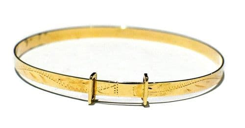 Child's Bangle 3 - 7 Years 9ct Yellow Gold Engraved Design Adjustable